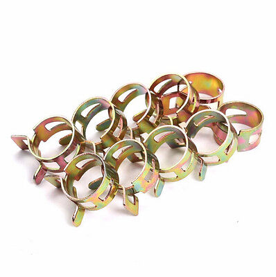10X Spring Band Low Hose Clips Petrol Pipe Pressure Type Fuel Silicone Air Clamp