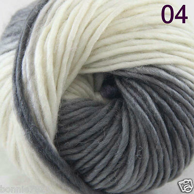 Sale 1Skein x 50gr NEW Hand Knitting Yarn Chunky Colorful Wool Scarves Shawls 04