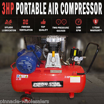 NEW Belt Driven 3 horse power 12CFM Air Compressor Portable 300L/min 80Lt Tank