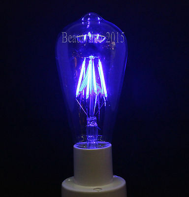 Retro LED Filament Antique Edison Bulb E27 Screw ES Blue Color Light Lamp ST64