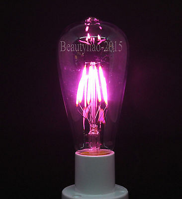 Retro LED Filament Antique Edison Bulb E27 Screw Pink Color Light Lamp ST64 220V