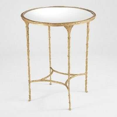 "21"" Round Side Table Solid Brass Base Branch Textured Frame Mirrored Top"