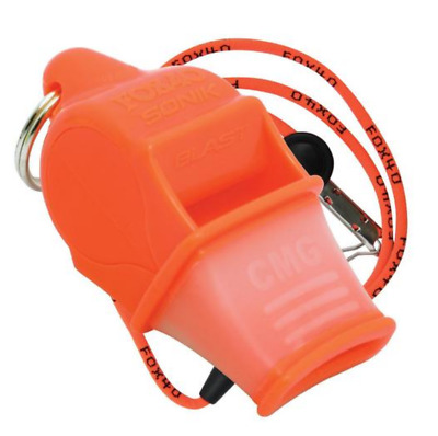Fox 40 Sonik Blast CMG 2-Chamber Pealess Whistle with Lanyard, Orange