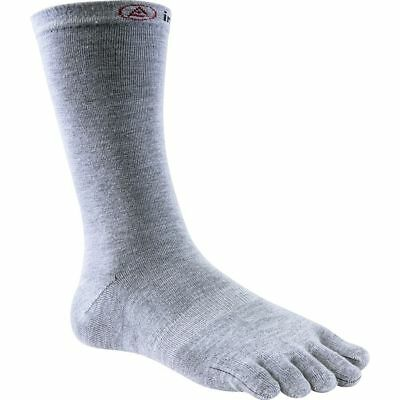 Injinji Performance Liner Lightweight Crew CoolMax Toe Socks- Heather Gray-Small