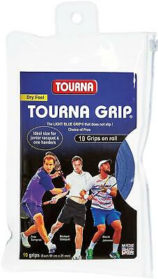 Tourna Tennis Racquet Over Grip 10 Overgrips Absorbent Dry Feel Tournagrip Blue