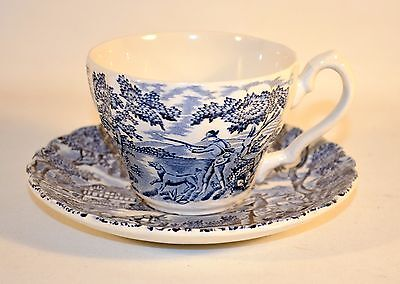 The Hunter by Myott England tea Cup and Saucer Blue Permanent Colours