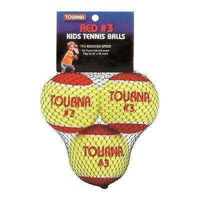 Tourna Kids Tennis Balls Stage 3 Youth Age 8 & Under USTA Sanctioned-3 Pack New