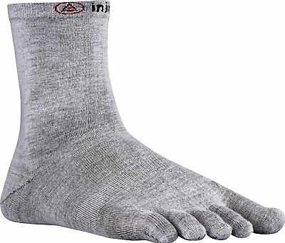 Injinji Performance Liner Lightweight Crew CoolMax Toe Socks- Heather Gray-Large