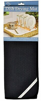 """Envision Home Black DISH DRYING MAT 16"""" x 18"""" Absorbent Microfiber High Quality"""