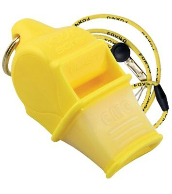 Fox 40 Sonik Blast CMG 2-Chamber Pealess Whistle with Lanyard, Yellow