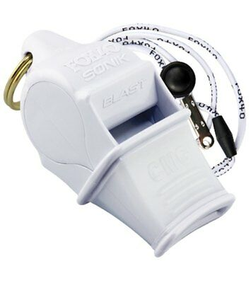 Fox 40 Sonik Blast CMG Whistle Lanyard Referee Coach Outdoor Dog Safety White