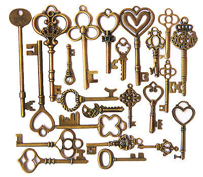 Old Punk Charm Heart Bow long Skeleton Keys Pendants Retro lot of 24 pcs  us88
