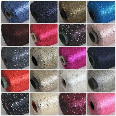 Sale New 1Cone 500g Polyester Sequin Hand Knitting Wrap Stole Crochet Yarn