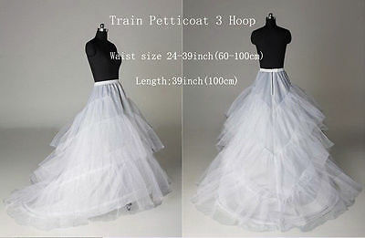 NEW Long 3 Hoop Petticoat Bridal Crinoline White Underskirt For Women US