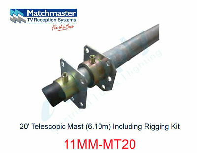 MATCHMASTER Antenna 20? Telescopic Mast (6.10m) Including Rigging Kit  11MM-MT20