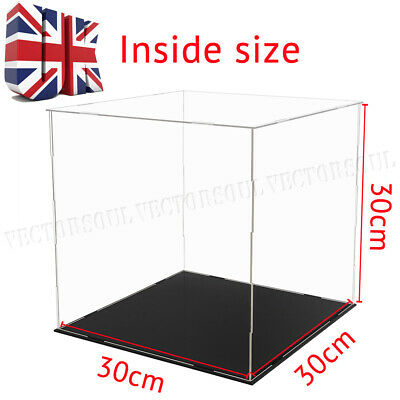 UK Acrylic Clear Cube Perspex Display Box Case 30cm Big Plastic Base Dustproof
