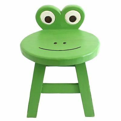 Small Mini Wooden Backed Stool For Children Nursery Playroom Seat Chair ~ Frog