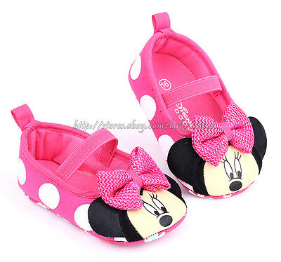 Infant Baby Girl Minnie Mouse Pink Polka Dot Crib Shoes Size Newborn to 18 Month