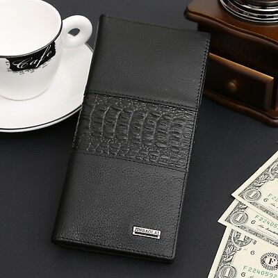 Long Men's Genuine Leather Bifold Wallet ID Card Holder Clutch Checkbook Handbag