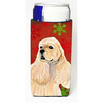 Buff Cocker Spaniel Red Green Snowflakes Christmas Michelob Ultra bottle slee...