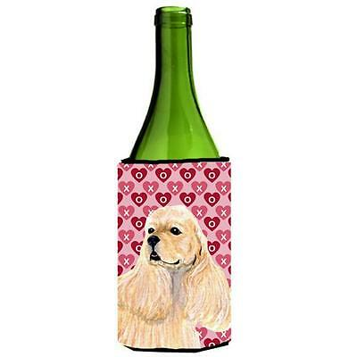 Buff Cocker Spaniel Hearts Love Valentines Day Wine bottle sleeve Hugger