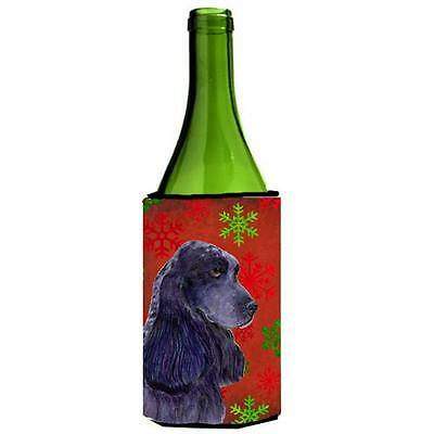 Cocker Spaniel Red Green Snowflakes Christmas Wine bottle sleeve Hugger 24 oz.