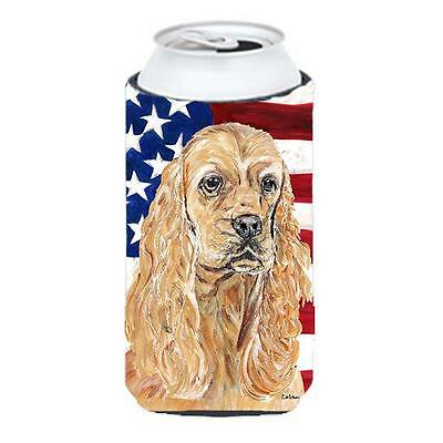Cocker Spaniel Buff Usa American Flag Tall Boy Hugger 22 To 24 oz.