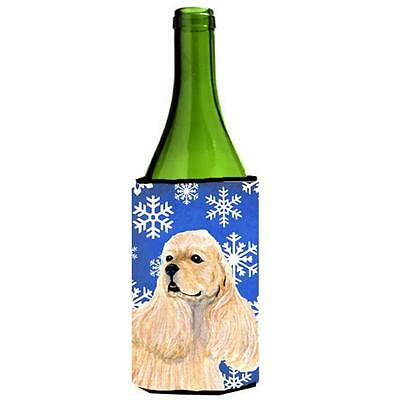 Cocker Spaniel Winter Snowflakes Holiday Wine bottle sleeve Hugger 24 oz.