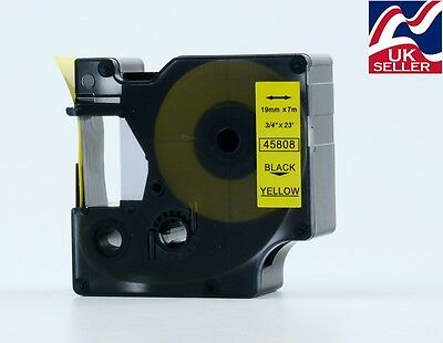1-12 D1 tape cartridge 45808 black/yellow 19mmx7m for DYMO label manager printer