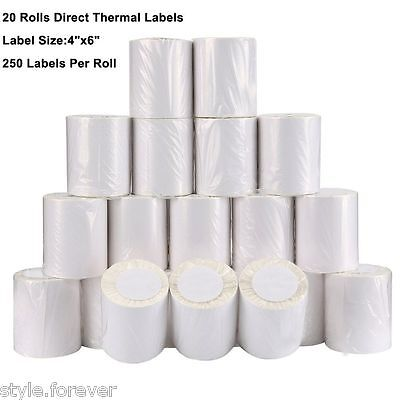 20 Rolls 250 Per Roll 4x6 Direct Thermal Labels Zebra 2844 Eltron Expedited Ship
