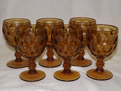 Imperial Glass Ohio PROVINCIAL AMBER 6 Water Wine Goblets 5 5/8""