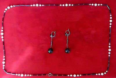 Antique French Jet Necklace & Earring Set