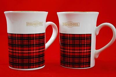 *Set of 2* DRAMBUIE Coffee Mug Cup - Black & Red Plaid
