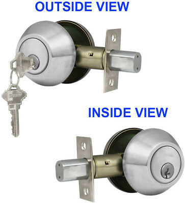 New Double Cylinder Deadbolt Door Lock Handle Set, Satin Nickel With 3 Keys ANSI