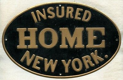 Early 1900's Fire Mark from Home Insurance Co. of New York. Painted Tin