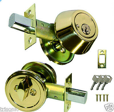 New Single Cylinder Deadbolt Door Lock Handle Set, Polished Brass W/ 3 Keys ANSI
