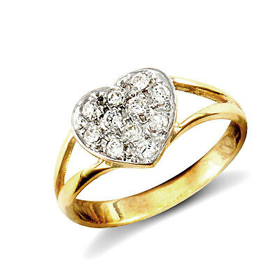 9ct Yellow Gold Childs Clear Stone Heart Ring