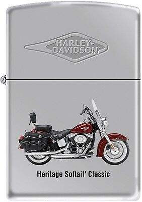 Zippo Harley Davidson HD Heritage Softail Classic Motorcycle Chrome Lighter RARE