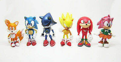 Lot Of 6pc The HEDGEHOG Super Sonic Characters PVC Figure Loose Toy Set