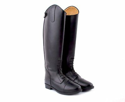 Rhinegold Black Montana Long Leather Horse Riding Boots Std Wide and XW UK3-8