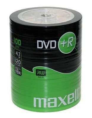 100 pack DVD+R 16x Maxell BLANK MEDIA DISCS  4.7gb Cello wrapped Gold Top