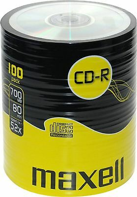 100 Cdr Maxell Blank Discs Cd-R Shrink Wrap Recordable Cd 80 Mins 52X 700Mb