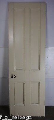 "Antique Vintage 4 Panel Interior Door 81-1/2"" X 26-3/8"" (D4) 1800's Local Pickup"