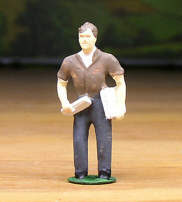 Pewter Railroad Figure People Worker With Plans Nos O / S Scale Train Layout