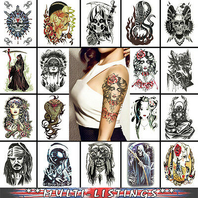 Temporary Tattoo Stickers Body Art Waterproof 3D Fake Arm Cool Buy 2 Get 2 Free