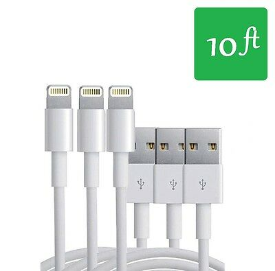 3x 10FT 8 Pin USB Data Sync Charge Charger Cable Cord For iPhone 5 5C iPhone 6