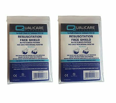 2x CPR Disposable Face Mask - Resuscitation Face Shield - First Aid Refil