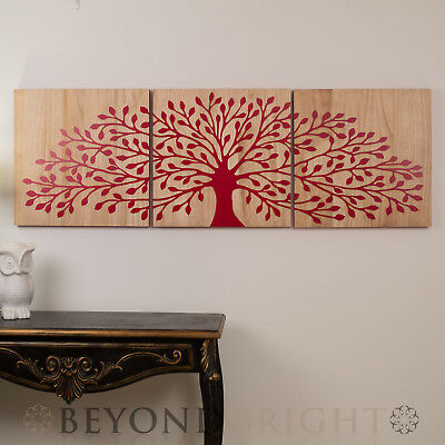 TREE OF LIFE RED REV Wooden Timber Hand Carved Wall Art Mangowood Print Triptych