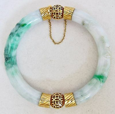 Vintage Chinese 14K Yellow Gold Green & White JADEITE Jade Bangle Bracelet (69g)