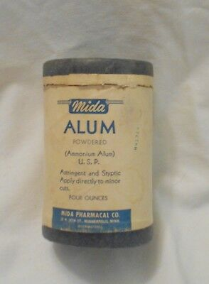 Vintage Mida Pharmacal Co. Alum Spice Box Cardboard 3 1/2 inches tall mpls-mn